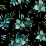 Seamless pattern of blue different flowers and leaves on dark bl stock illustration
