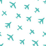 Seamless pattern - blue doodle airplanes Stock Images
