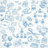 Seamless pattern of blue doodles on business theme Royalty Free Stock Photos