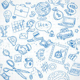 Seamless pattern of blue doodles on business theme 1 Stock Photos