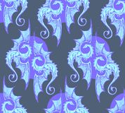 Seamless pattern. blue dragons. Cold illusive gothic texture. Seamless pattern with blue dragons. Cold illusive texture full of Gothic mysticism royalty free illustration