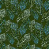 Seamless pattern with blue feathers Stock Image