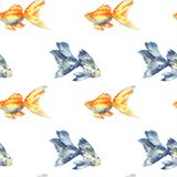Seamless pattern with blue fish with big fin and goldfish. Hand drawn watercolor illustration. Texture for print, fabric, textile vector illustration