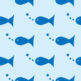 Seamless pattern with blue fish. Water bubble. Repeating texture Stock Photography
