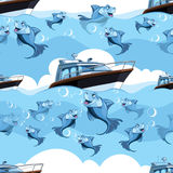 Seamless pattern with blue fish and yacht in the sea Stock Image