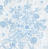 Seamless Pattern. Blue Floral Seamless Pattern. On cracked background Royalty Free Stock Image