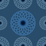 Seamless pattern. Blue floral design and background. Round flower ornament design. Royalty Free Stock Photos