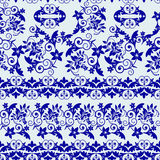 Seamless pattern with blue floral and leaves Royalty Free Stock Photography
