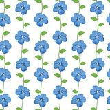 Seamless pattern with blue flowers vector illustration