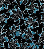 Seamless pattern with blue flowers Stock Images