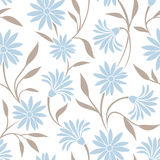 Seamless pattern with blue flowers and beige leaves. Vector illustration. Royalty Free Stock Image