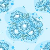 Seamless pattern blue flowers bouquet. Stock Images