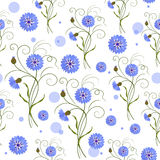 Seamless pattern with blue flowers Royalty Free Stock Photo