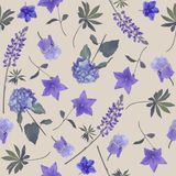 Seamless   pattern of blue flowers. Endless texture for your design Stock Images