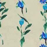 Seamless pattern with blue flowers Stock Photos