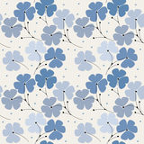 Seamless pattern with blue flowers  on ivory background. Can be used for linen, tile, design fabric, textile and more creative designs Stock Image