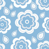 Seamless pattern blue with flowers and leaves Royalty Free Stock Photos
