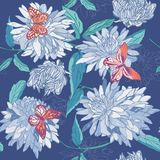 Seamless pattern of blue flowers with leaves and butterflies on a blue background. Aster, chrysanthemum, gerbera. Floral vector illustration
