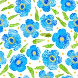 Seamless pattern of blue flowers and leaves with painted texture. Seamless pattern of paper with painted texture featuring blue flowers, green leaves and small Royalty Free Stock Photography
