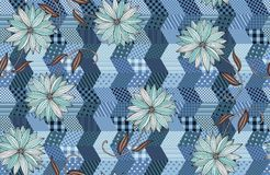 Seamless pattern with blue flowers on patchwork background. Royalty Free Stock Photos