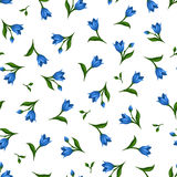 Seamless pattern with blue flowers. Vector illustration. Stock Images