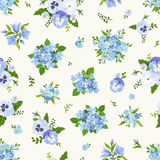 Seamless pattern with blue flowers. Vector illustration. Royalty Free Stock Images