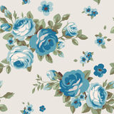 Seamless pattern with blue flowers. Vintage floral wallpaper with blooming roses Stock Image