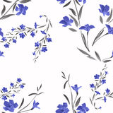 Seamless pattern blue flowers on a white stock illustration