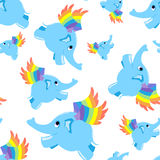 Seamless pattern blue flying elephant. Stock Photo