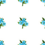 Seamless pattern of blue forget-me-not bouquets Royalty Free Stock Photo