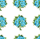 Seamless pattern of blue forget-me-not bouquets Stock Image