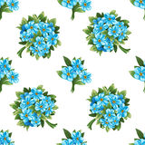 Seamless pattern of blue forget-me-not bouquets Stock Photography