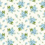 Seamless pattern with blue forget-me-not flowers. Vector illustration. Royalty Free Stock Photography