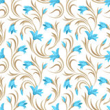 Seamless pattern with blue gladiolus flowers. Vector illustration. Vector seamless pattern with blue gladiolus flowers and beige leaves on a white background Royalty Free Stock Photography