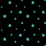 Seamless pattern with blue glitter textured stars. Vector Royalty Free Stock Photography