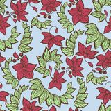 Seamless pattern in blue, green and red colors in vector graphic. With flowers, beads and leaves in graphic design Stock Images