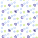 Seamless pattern of blue, green and violet colored buttons. On white background Stock Photos