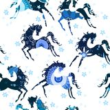 Seamless pattern with blue horses. Pattern with horses, decorated with blue ornament Royalty Free Stock Photography