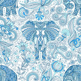 Seamless pattern with blue Indian Elephant Stock Photo