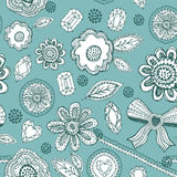 Seamless pattern with blue lace, diamonds, flowers, leaves. Vector Royalty Free Stock Photo