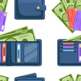 Seamless pattern. Blue leather wallet with cards and cash. Opened and closed wallet. Pockets for credit cards and paper money. Flat  illustration on white royalty free illustration