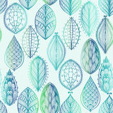 Seamless pattern with blue leaves Stock Photography