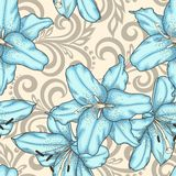 Seamless pattern with blue lilies flowers and abstract floral swirls Stock Images