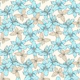 Seamless pattern with blue lilies flowers and butterflies. Hand-drawn contour lines. Perfect for background greeting cards and inv Stock Photos