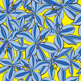 Seamless pattern blue lily on yellow Royalty Free Stock Photo