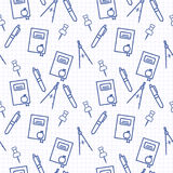 Seamless pattern with blue line art icon of notebook, compasses, pen and compasses on notebook page background. vector illustration
