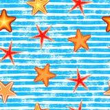Seamless pattern. Blue lines, starfish Stock Photography
