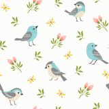 Spring pattern of blue little birds royalty free illustration