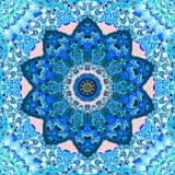 Seamless pattern with blue mandala flower on ornamental background. Ceramic tile, tea box packaging design, carpet, napkin royalty free illustration