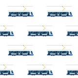 Seamless pattern of blue modern tram. Stock Photo